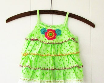 Fiesta,Altered Upcycled Apple Green Eyelet Lace 18 months Girls Boho Layered Tunic Recycled Fashion by Wild HollyBerry ,Hollywood Hillbilly
