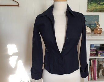 Vintage 1990s Navy Blue Linen Blouse with French Cuffs by Sisley, size XS 32 Button Down Shirt, Long Sleeves, Wide Cuffs