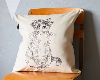 Throw Pillow - Throw Pillow Covers - Screen Printed Pillows - Pillow Case - Home Decor - Kids Room - Decorative Pillows - Nursery - Cat