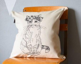 Throw Pillow - Throw Pillow Covers - Screen Printed Pillows - Pillow Case - Home Decor - Kids Room - Decorative Pillows - Nursery - Cat