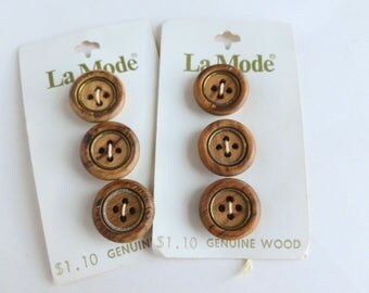 """La Mode Genuine Wood and Metal Flat Buttons Lot Four Hole 3/4"""" Diameter Size 30 Unused on Cards NOS"""