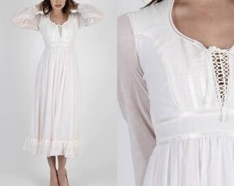 Gunne Sax Dress Hippie Dress Boho Dress Bohemian Dress 70s Dress Pink Dress Vintage Dress Pale Pink Corset Prairie Lace Maxi Dress XS