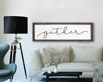 Gather Sign |Kitchen Sign | Wood Gather Sign | White Gather Sign | Framed Gather Sign| Dining Room Decor