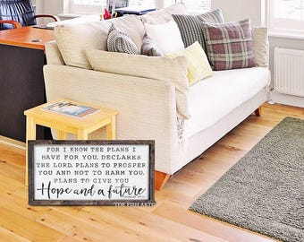 For I Know the Plans I Have For Sign | Jeremiah 29:11 | You Declares the Lord| Framed Wood | Scripture Sign |  Rustic Sign | Christian Decor