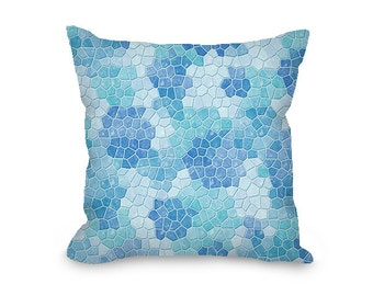 Throw Pillow Cover, decorative pillow, ice blue throw pillow with zipper, faux mosaic, modern decor, turquoise couch pillow, sofa pillow