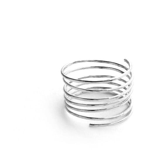 Wrapped Ring - Silver Spiral Ring, Stacking Ring, Thumb Ring