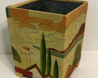 Chinoiserie Leather Waste Can
