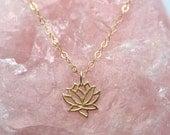 Lotus Flower necklace / Lotus necklace / Lotus Flower Jewelry / Vermeil Lotus charm / Lotus jewelry / Lotus Flower charm