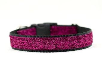 Magenta Sparkle Dog Collar, Sparkly Dog Collar, Dressy Dog Collar, Wedding Dog Collar, Stylish Dog Collar