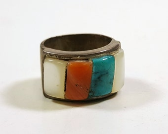 Vintage Native American Ring Turquoise Coral Abalone Chunky Ring Sterling Silver Size 5.5