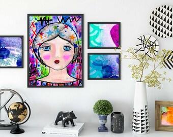 Stars Mixed Media Girl Giclee Art Print Original Art Print 8x10
