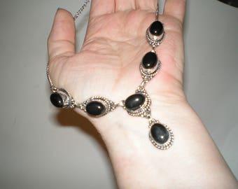 Black Onyx Necklace Sterling Linked Tibtan Style Mourning Pendant Necklace -Beautiful Ornate Bezel Set Linked Oval Shaped Stones