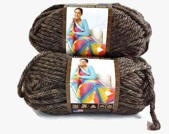 Brown Yarn Bulk Lot Lion Brand Hometown, Bulky Thick Acrylic Chunky, Three Balls 4 Ounce Granite Brown Yarn