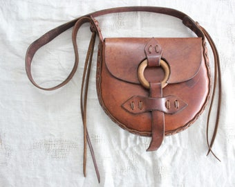 Vintage 1970s Hand Made Heavy Leather Hippie Purse Hand Bag