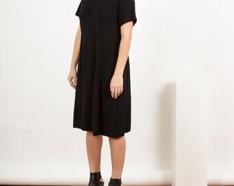 Party Black Dress / Short Sleeve Pleated Dress / Evening Midi Dress