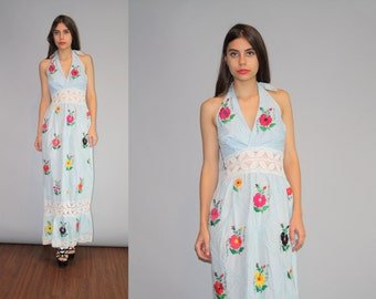 Vintage 1960s Pastel Blue Crochet Lace Oaxacan Ethnic Hippie Mexican Festival Rainbow Floral Embroidered Halter Backless Maxi Dress - W00174