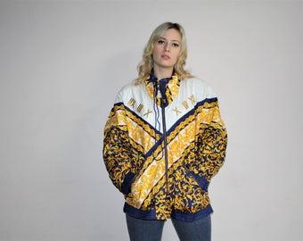 1980s Vintage Novelty Royalty Scarf Print Glam Windbreaker Jacket - 80s Jackets - 80s Clothing - WV0097