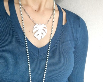 Monstera leaf necklace, metal philodendron leaf necklace, tropical leaf pendant
