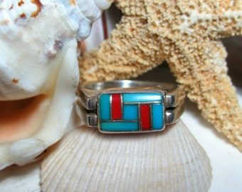 Sterling Silver Spiny Oyster and Turquoise Flip Ring Reversible Ring