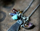Moss Amethyst Protective Eye, Guiding Hand & Beaded Charm Necklace - Recycled Silver, Industrial, Distressed, Evil Eye, Hamsa