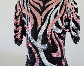 Peter Pan Bejeweled Sequined Scalloped Leaves Edge Pink Silver Black Top Blouse Raglan Sleeve