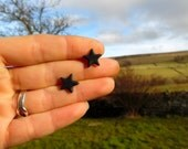 Black Star Stud Earrings, Fimo Polymer Clay, Hypo Allergenic, Stainless Steel, by Supremily Jewellery