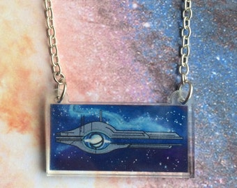 Mass Effect - Mass Relay Galaxy Acrylic Necklace - Commander Shepard - FREE SHIPPING