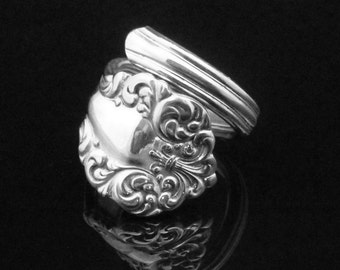Ornate Victorian Spoon Ring, Norma 1900, Decorative Spoon Jewelry