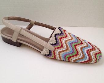 Van Eli Shoes Womens Size 9.5 N Slingbacks Sandals 9 1/2 Narrow Vaneli Low Heels