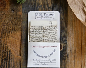 Persuasion Jane Austen Book Paper Garland - 10 Foot Party Decoration Home Decor Book Page Bunting