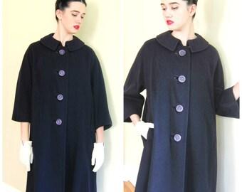Vintage 1960s Dark Blue Swing Coat / 60s Blue Cashmere Wool Button Down Coat / Large