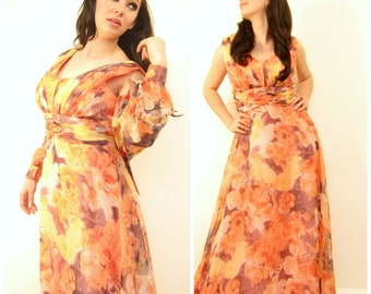 Vintage 1970s Floral Print Maxi Dress with Matching Sheer Shirt / 70s Orange and Purple Party Dress and Top Ensemble / Medium