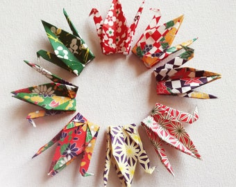 40 Beautiful Washi Japanese Origami Paper Cranes in 8 traditional designs (made with 3' x 3' sheets)