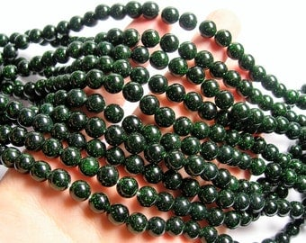 Green Goldstone - 8 mm - 51 beads - 16 inch strand - RFG1216
