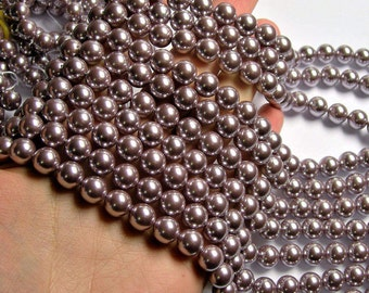 Pearl 10mm round  lavender Pearl  1 full strand - 40 beads - SPT44 - Shell pearl
