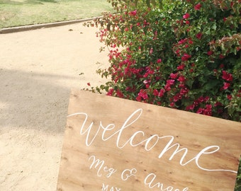 Custom Hand painted Wooden Wedding Welcome Sign - Wooden Wedding Signs - Wood