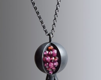 Pomegranate Necklace - Pomegranate Pendant - Pomegranate Jewelry - Silver Pomegranate - TINY Pomegranate Pendant - Garnet Ruby Necklace