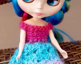 Pink and Blue Blythe Lace Dress, Blythe Doll Dress, Crochet Lace Dress for Blythe Dolls, Crochet Lace Doll Dress, Blythe Dress in Pink Blue