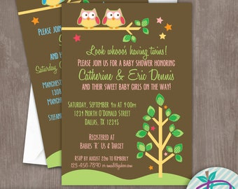 Owl Baby Shower Invitation, Owl Birthday Party Invitation, Owl Birth Announcement, Twins