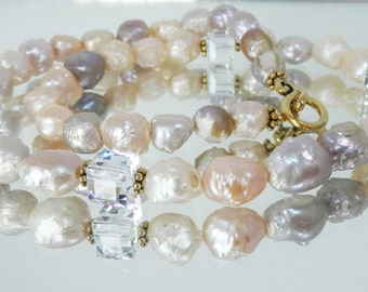 Mauve and Peach Freshwater Pearls and Swarovski Crystal Cubes Necklace