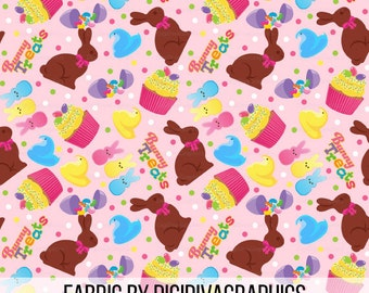 Easter Treats Fabric by the Yard - Chocolate Bunnies Cupcake Egg Bunny Treats Eater Pattern Print in Yard & Fat Quarter