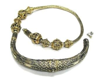 "Antique Sri Lanka Necklace, c. 1850's, 22ct Gilt Open Work & Bicone Beads, Sinhalese Necklace, Antique Ceylon Necklace, 56cm (22""), 124Grams"