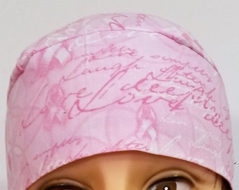 Handmade Pink Chemo Cap with Encouraging Words, Cancer, Hair Loss, Hats, Head Wrap, Bandana, Do Rag, Biker, Motorcycle, Hat, Helmet Liner
