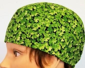 Green Shamrocks Skull Cap, Chemo Cap, Surgical Cap, Hat, Hair Loss, St.Patrick's Day, Helmet Liner, Do Rag, Handmade, Men, Women, Motorcycle