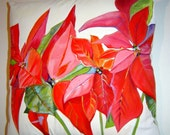 Custom Order - Red Poinsettia Pillow 15x15 Hand Painted Original Art Holiday Accent