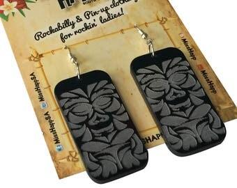 Black Tiki God perspex earrings