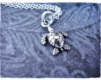 Tiny Silver Sea Turtle Necklace - Sterling Silver Sea Turtle Charm on a Delicate Sterling Silver Cable Chain or Charm Only