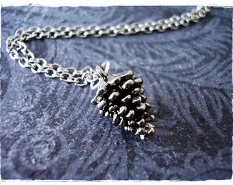 Silver Pine Cone Necklace - Antique Pewter Pine Cone Charm on a Delicate Silver Plated Cable Chain or Charm Only