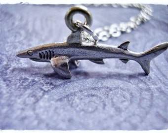 Tiny Silver Shark Necklace - Antique Pewter Shark Charm on a Delicate Silver Plated Cable Chain or Charm Only