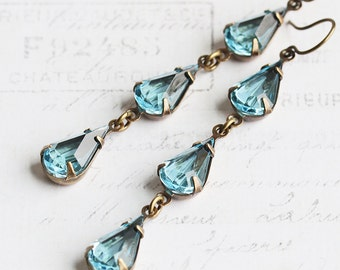 Long Teardrop Earrings, Aqua Blue Earrings on Antiqued Brass Hooks, Blue Dangle Earrings, Vintage Glass, Rhinestone Jewelry